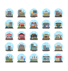 business buildings flat icons vector image