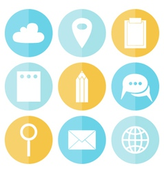 Business circle flat icons vector