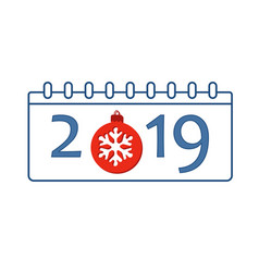 Calendar happy new year 2019 number isolated on vector
