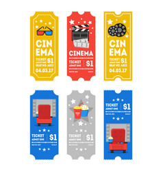cartoon cinema tickets small vertical set vector image