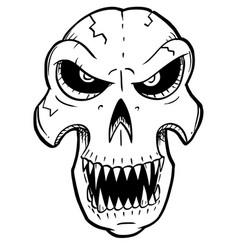 Cartoon or drawing halloween skull vector