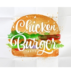 Chiken burger watercolor vector