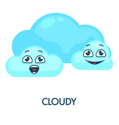 Cloudy weather symbol with blue soft happy clouds vector