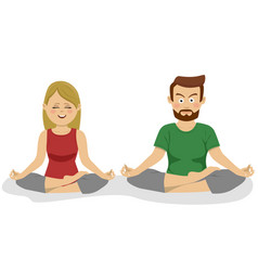 couple meditating in lotus position doing yoga vector image