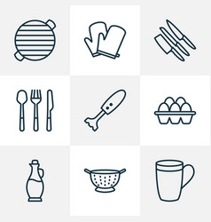culinary icons line style set with mug knife set vector image