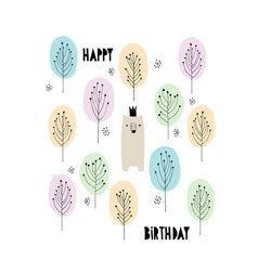 Cute bear with crown birtday card vector