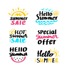 cute summer lettering set vector image