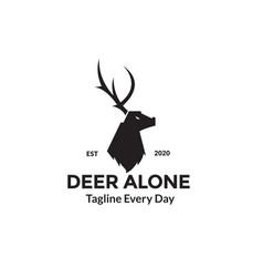 Deer head side view logo design vector
