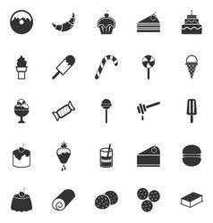 Dessert icons on white background vector