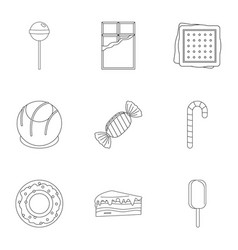 different sweet icon set outline style vector image