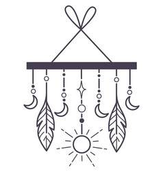 dream catcher with feathers and crescent moon vector image