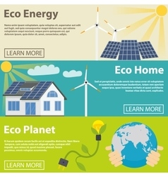 Eco energy horizontal banner set with green home vector image