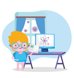 Education online student boy with book computer vector