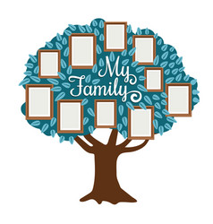 Family tree with photo frame isolated on white vector
