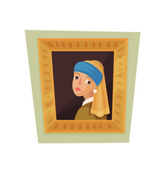 Famous painting of girl with pearl earring and vector
