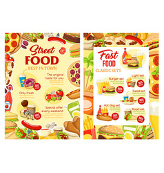 Fast food and street food meals menu vector
