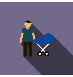 Father with baby in stroller icon flat style vector image