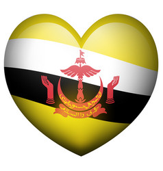 Flag of brunei in heart shape vector