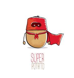 Funny cartoon cute brown super potato vector