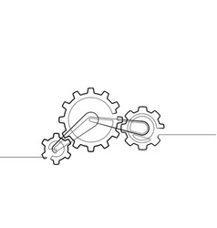 Gear and cog one continuous line abstract g vector