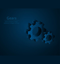 gears symbol low poly mechanism polygonal icon vector image