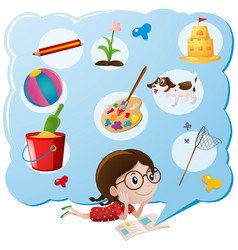 Girl thinking favorite things vector