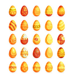 gold easter eggs set egg hunt sunday vector image