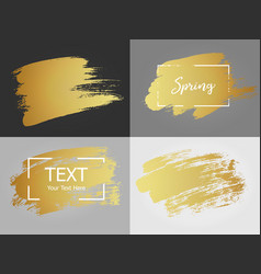Gold paint stroke with border frame dirty vector