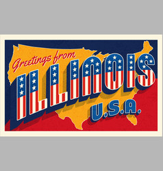 Greetings from illinois usa retro style postcard vector