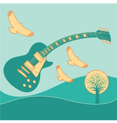 Guitar Fly landscape2 vector image