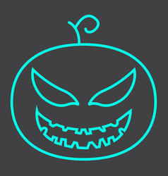 halloween pumpkin line icon halloween and scary vector image