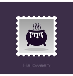 Halloween witch cauldron stamp vector