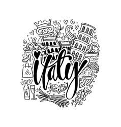 hand drawn symbols of italy vector image