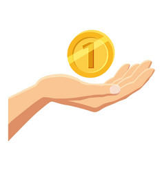 Hand holding gold coin icon cartoon style vector