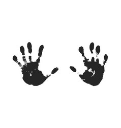 Hand print set isolated on white background black vector