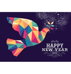 Happy new year 2016 dove triangle hipster color vector