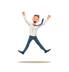 Happy smiling businessman coworker character jump vector