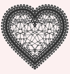 heart with lace pattern ornate element for design vector image