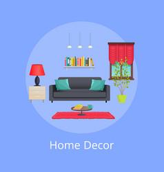 home decor sample bright interior colorful card vector image