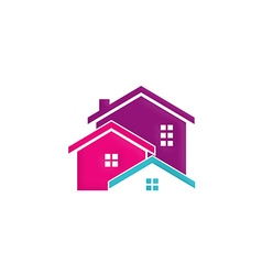 house building realty colorful logo vector image