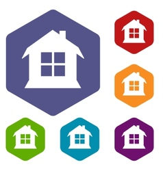 House rhombus icons vector image