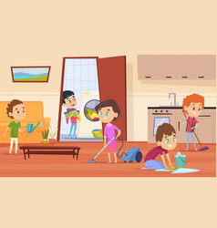 Housework with parents family couple mother vector