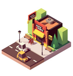 Isometric auto parts shop vector