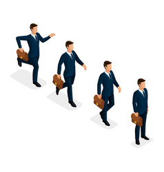 isometric set 3d businessmen business scene vector image