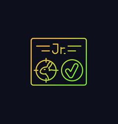 Junior hunting license rgb color icon for dark vector