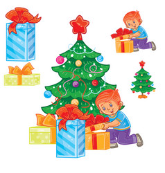 Little boy opening christmas presents vector