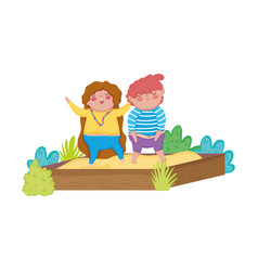little chubby couple in the sand box vector image