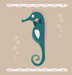 Lovely an intelligent seahorse vector
