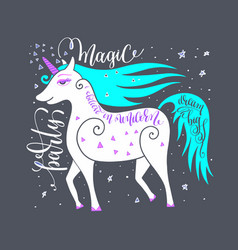 Magic party poster with unicorn and hand letterin vector