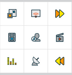 media icons colored line set with audio mixer vector image
